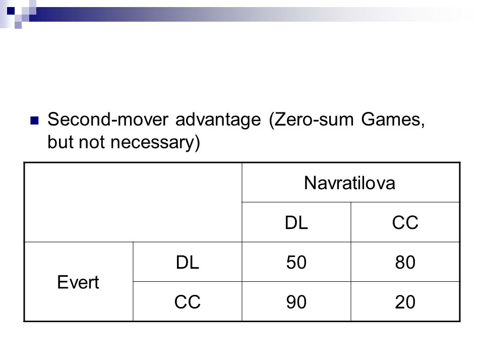 Second-mover advantage (Zero-sum Games, but not necessary)