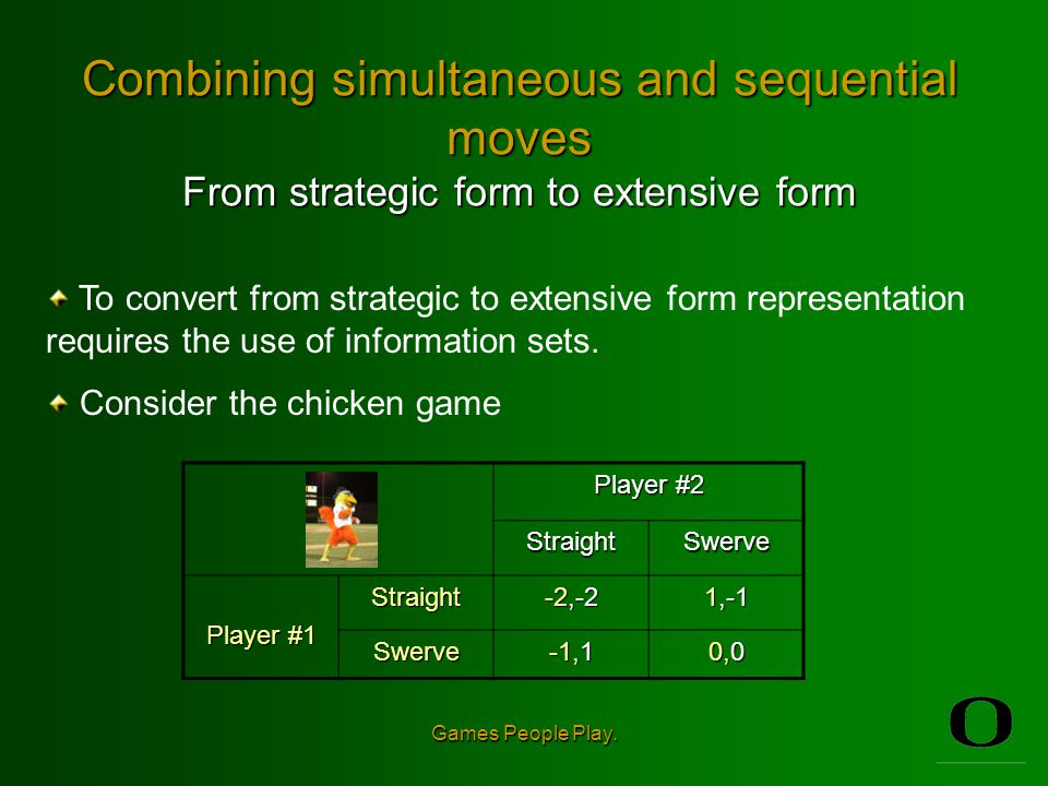 Combining simultaneous and sequential moves From strategic form to extensive form