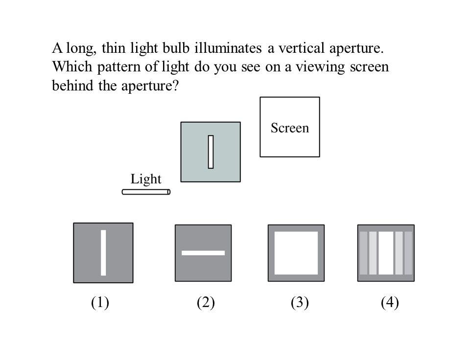 A long, thin light bulb illuminates a vertical aperture