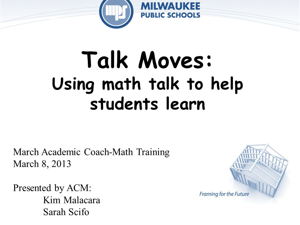 Talk Moves: Using math talk to help students learn