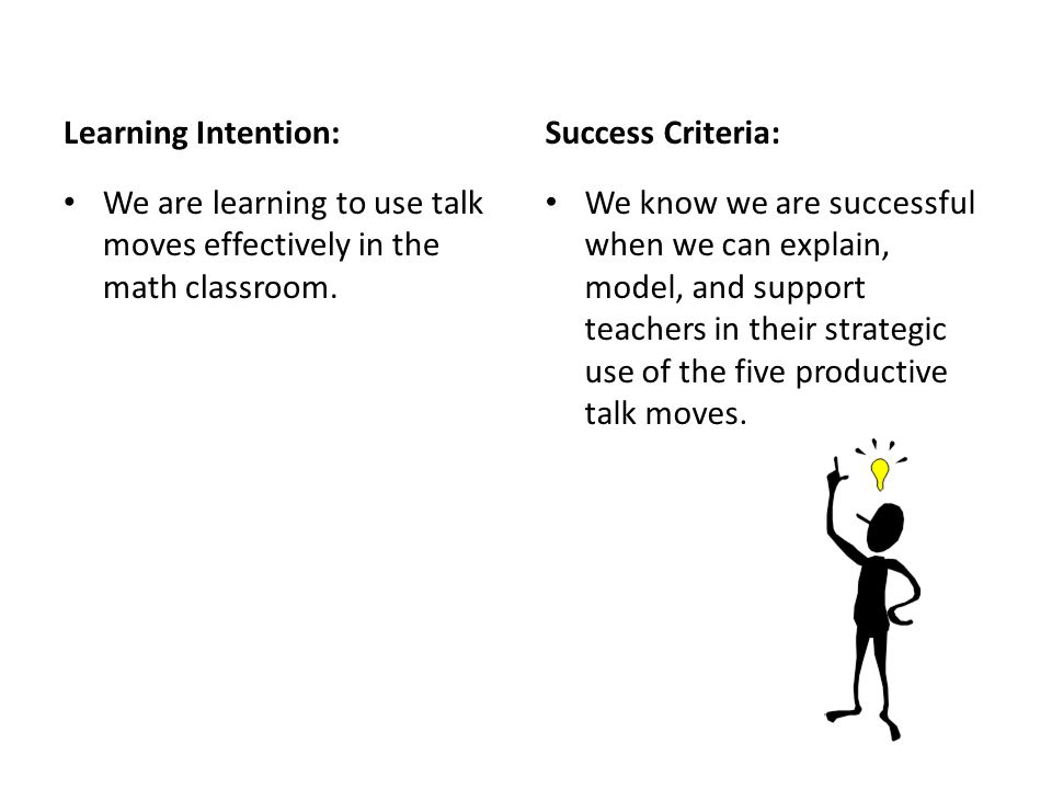 Learning Intention: Success Criteria: We are learning to use talk moves effectively in the math classroom.