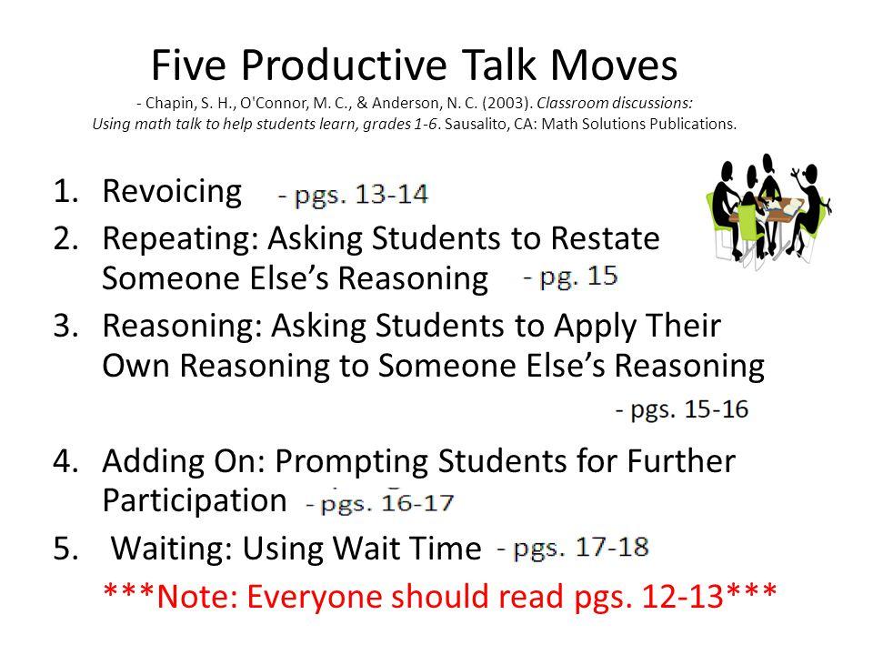 Five Productive Talk Moves - Chapin, S. H. , O Connor, M. C