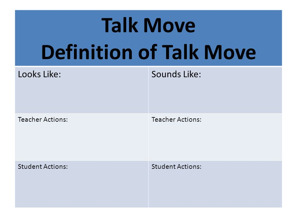 Definition of Talk Move