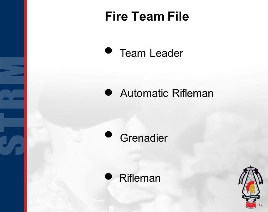 Fire Team File Rifleman Automatic Rifleman Grenadier Team Leader