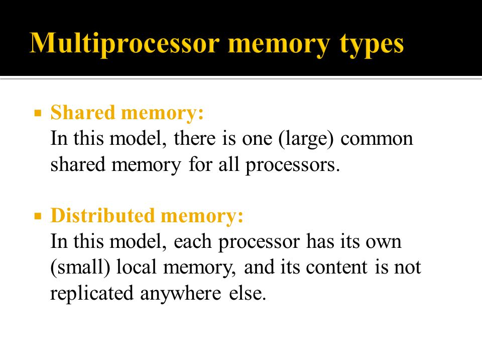 Multiprocessor memory types