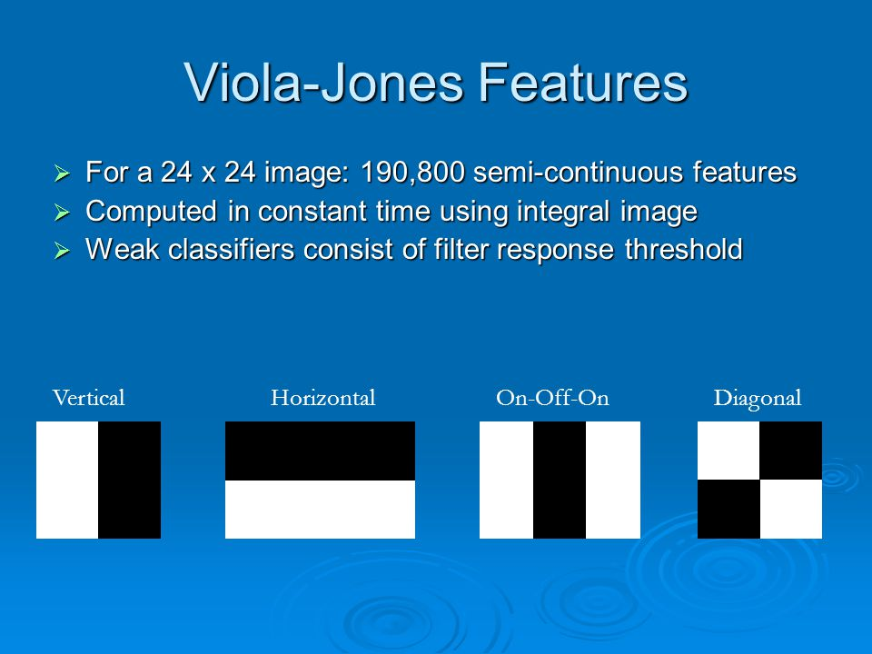 Viola-Jones Features For a 24 x 24 image: 190,800 semi-continuous features. Computed in constant time using integral image.