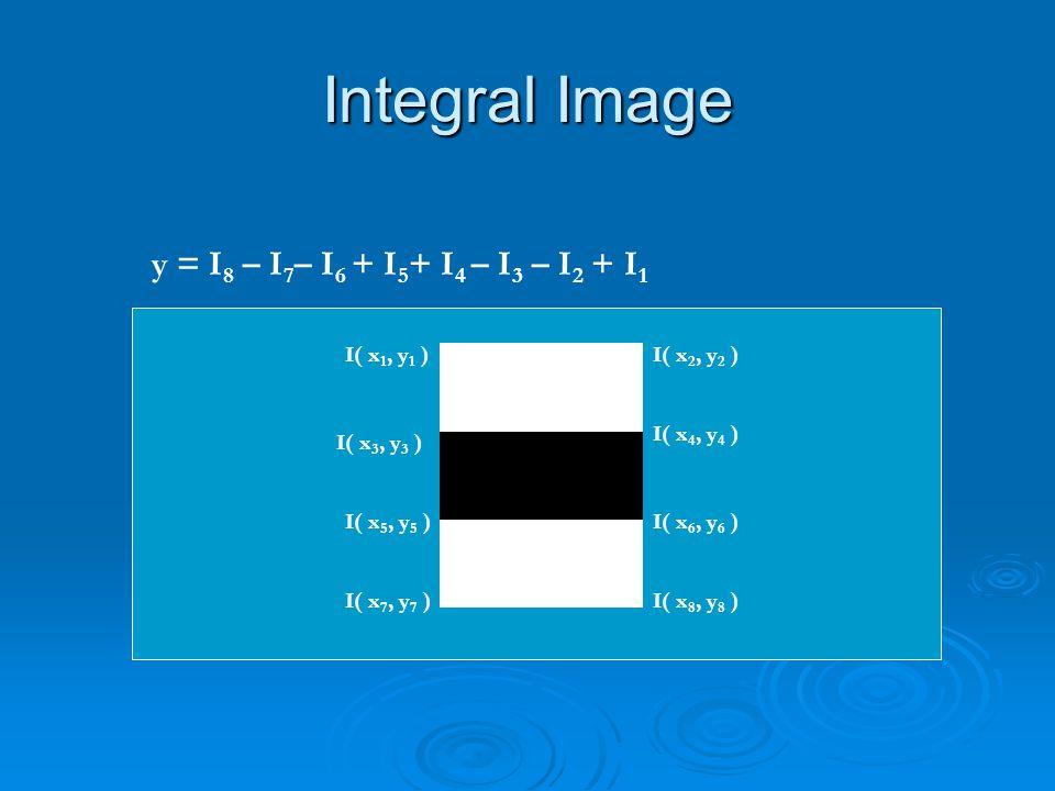 Integral Image y = I8 – I7– I6 + I5+ I4 – I3 – I2 + I1 I( x1, y1 )