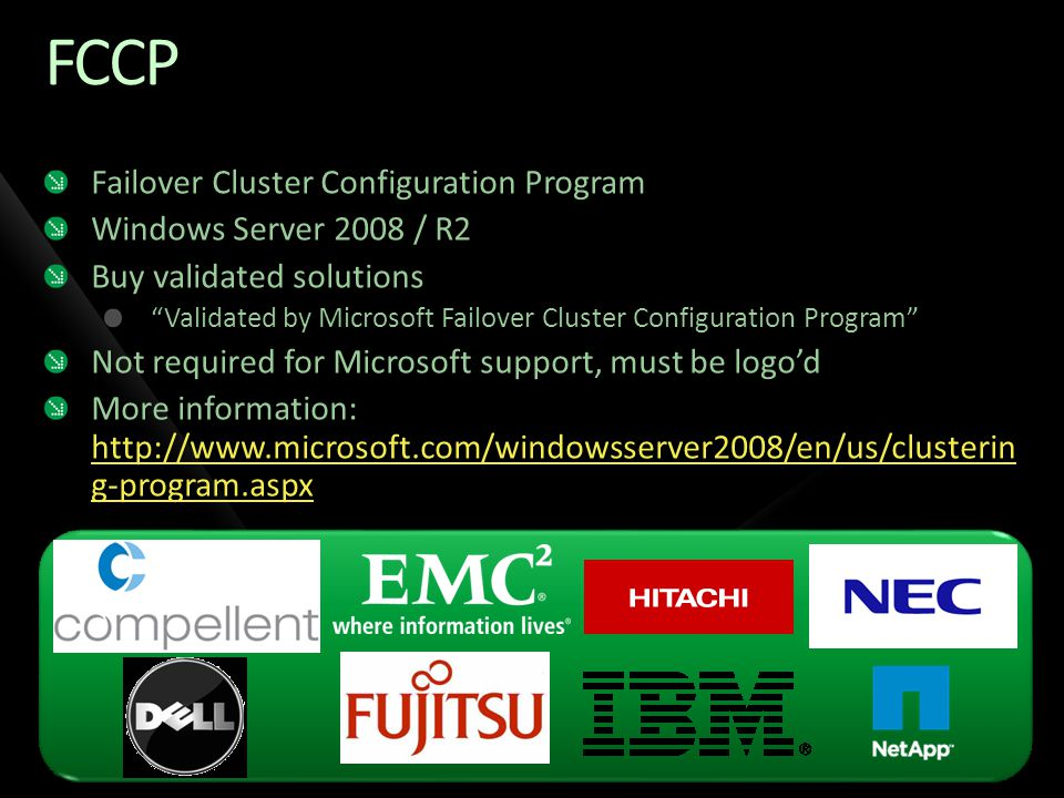 FCCP Failover Cluster Configuration Program Windows Server 2008 / R2