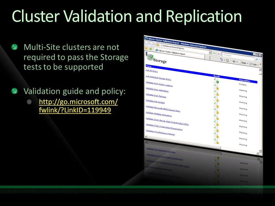 Cluster Validation and Replication
