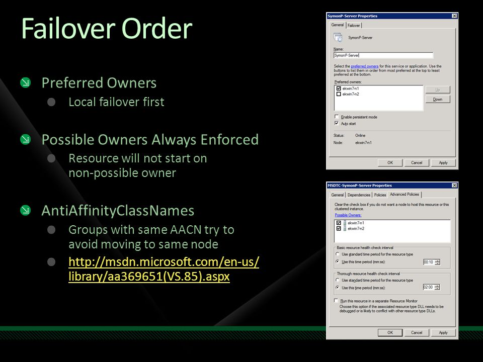Failover Order Preferred Owners Possible Owners Always Enforced