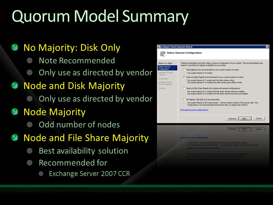 Quorum Model Summary No Majority: Disk Only Node and Disk Majority