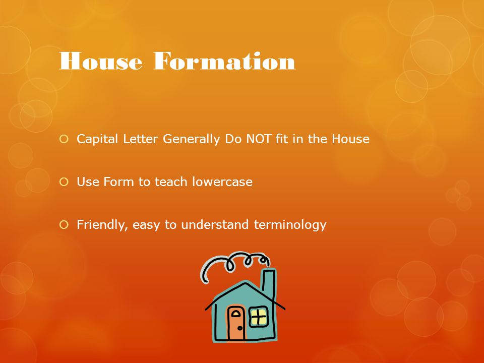 House Formation Capital Letter Generally Do NOT fit in the House