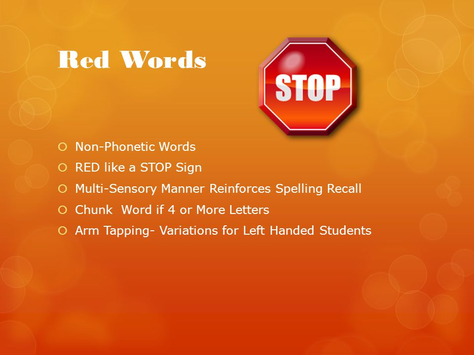 Red Words Non-Phonetic Words RED like a STOP Sign