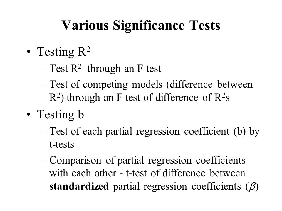Various Significance Tests