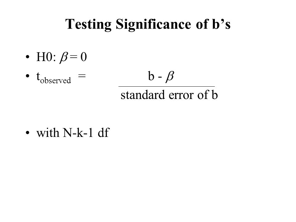 Testing Significance of b's