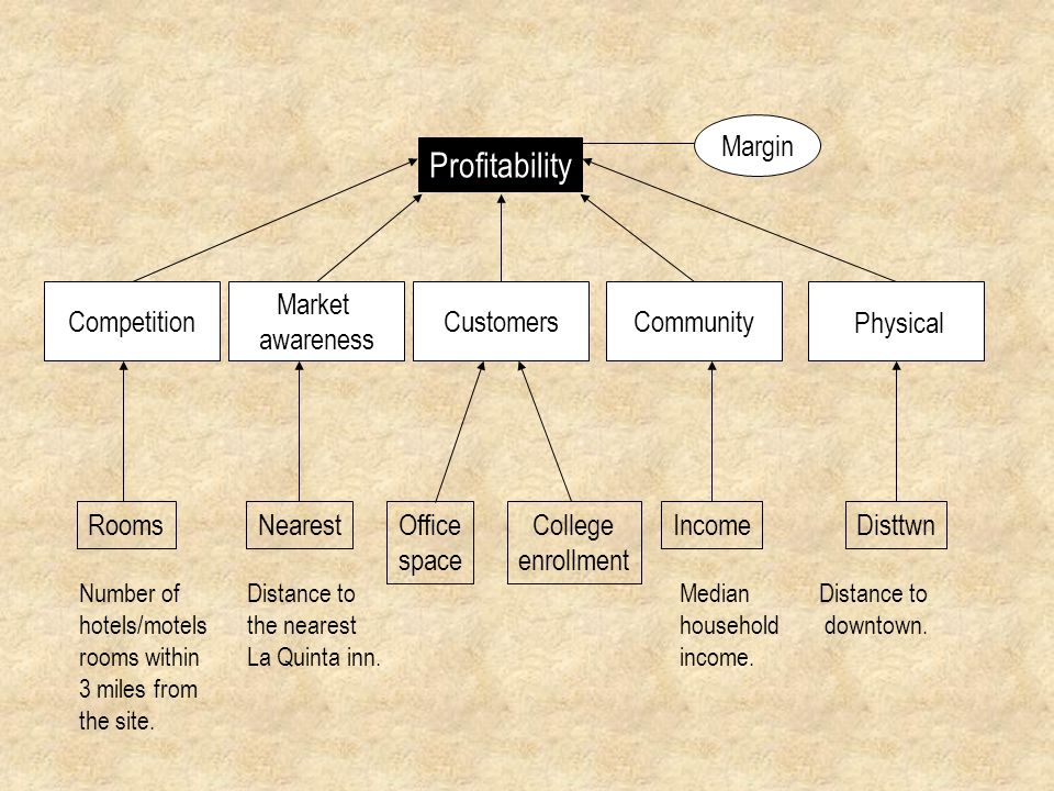 Profitability Margin Competition Market awareness Customers Community
