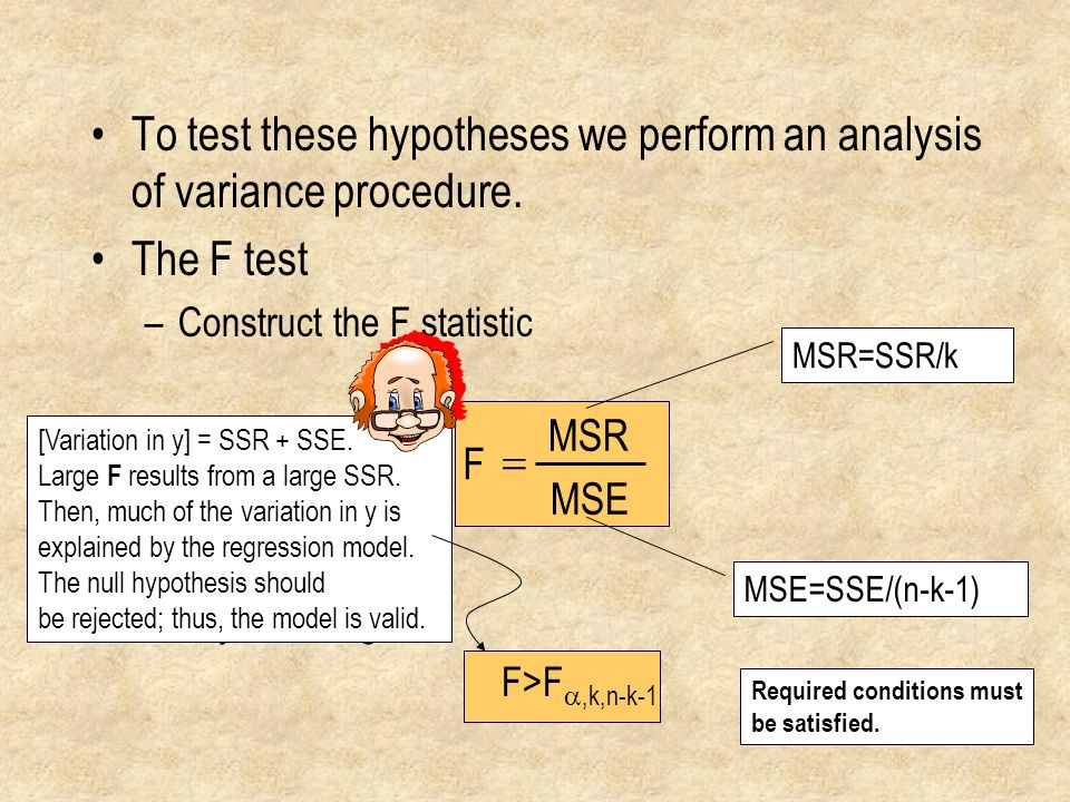 To test these hypotheses we perform an analysis of variance procedure.