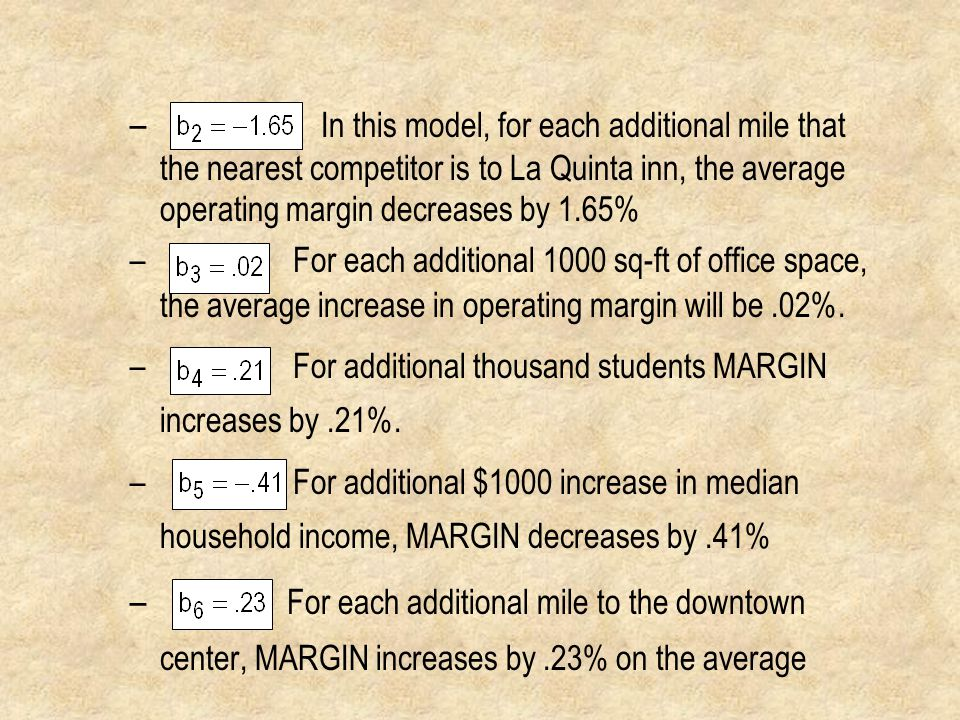 In this model, for each additional mile that the nearest competitor is to La Quinta inn, the average operating margin decreases by 1.65%