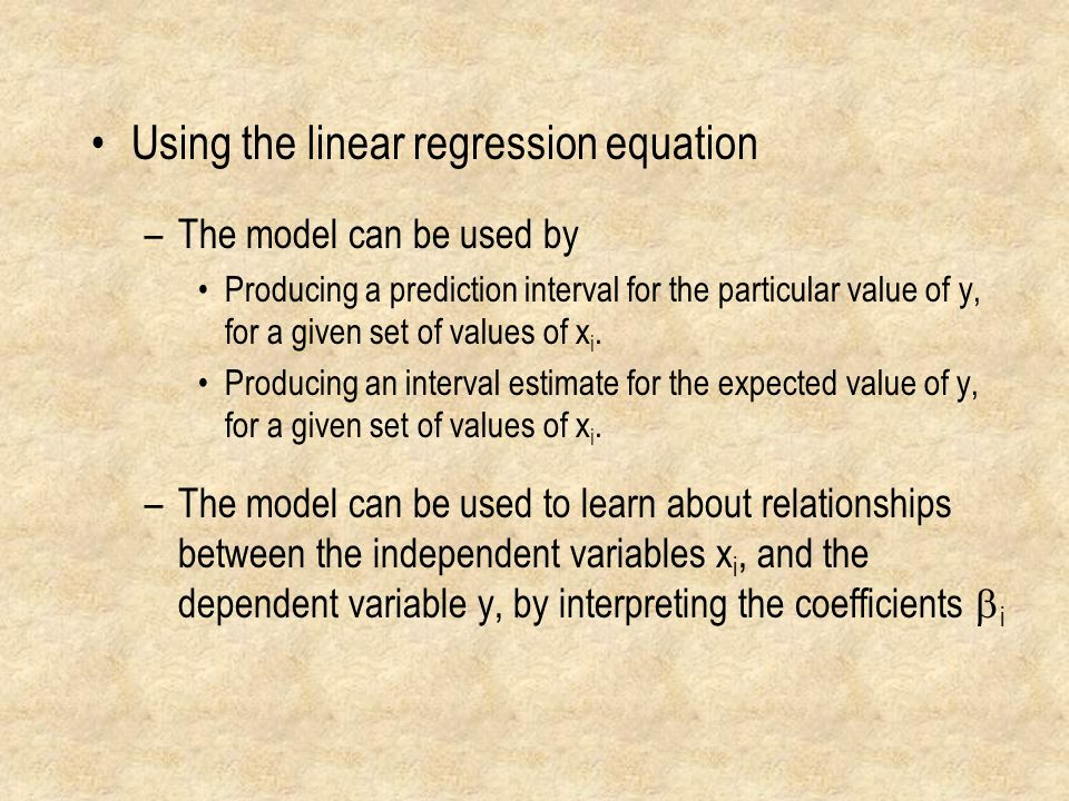 Using the linear regression equation