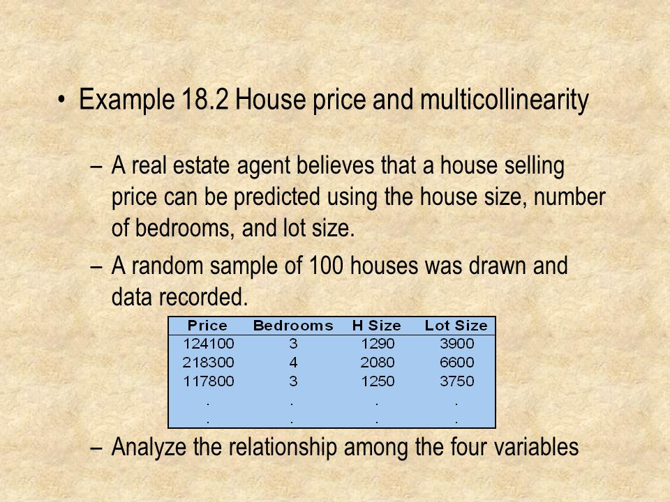 Example 18.2 House price and multicollinearity