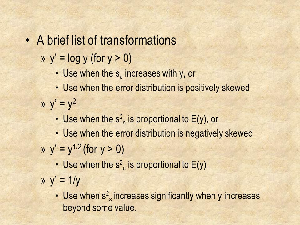 A brief list of transformations
