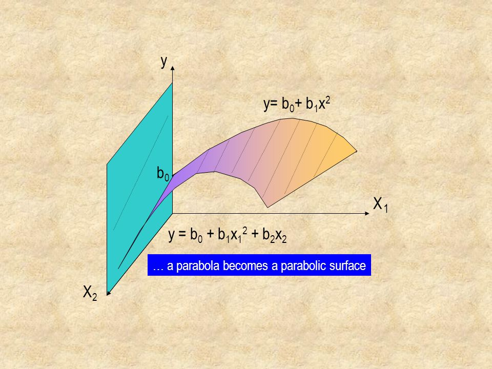 y y= b0+ b1x2 b0 X 1 y = b0 + b1x12 + b2x2 … a parabola becomes a parabolic surface X2
