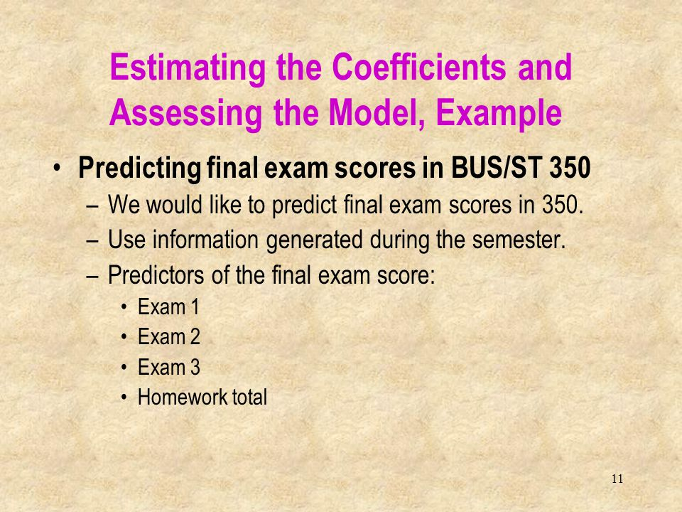 Estimating the Coefficients and Assessing the Model, Example