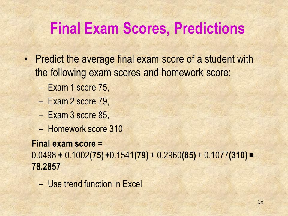 Final Exam Scores, Predictions