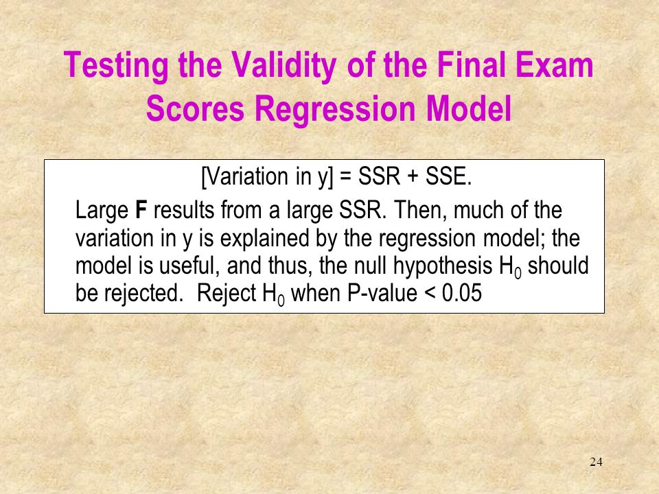 Testing the Validity of the Final Exam Scores Regression Model