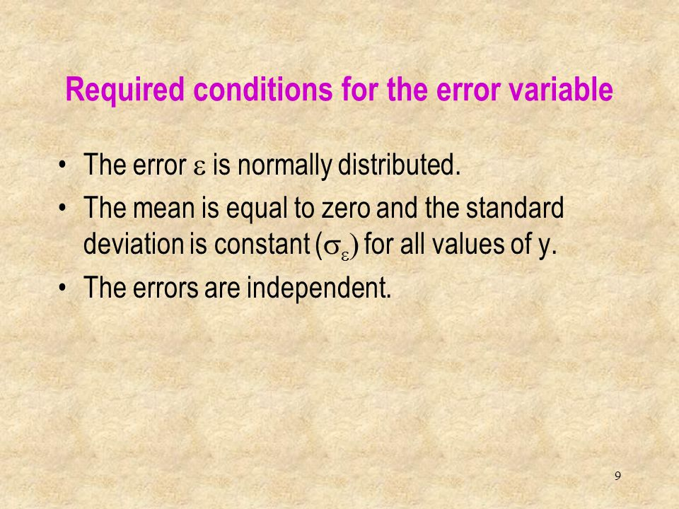 Required conditions for the error variable