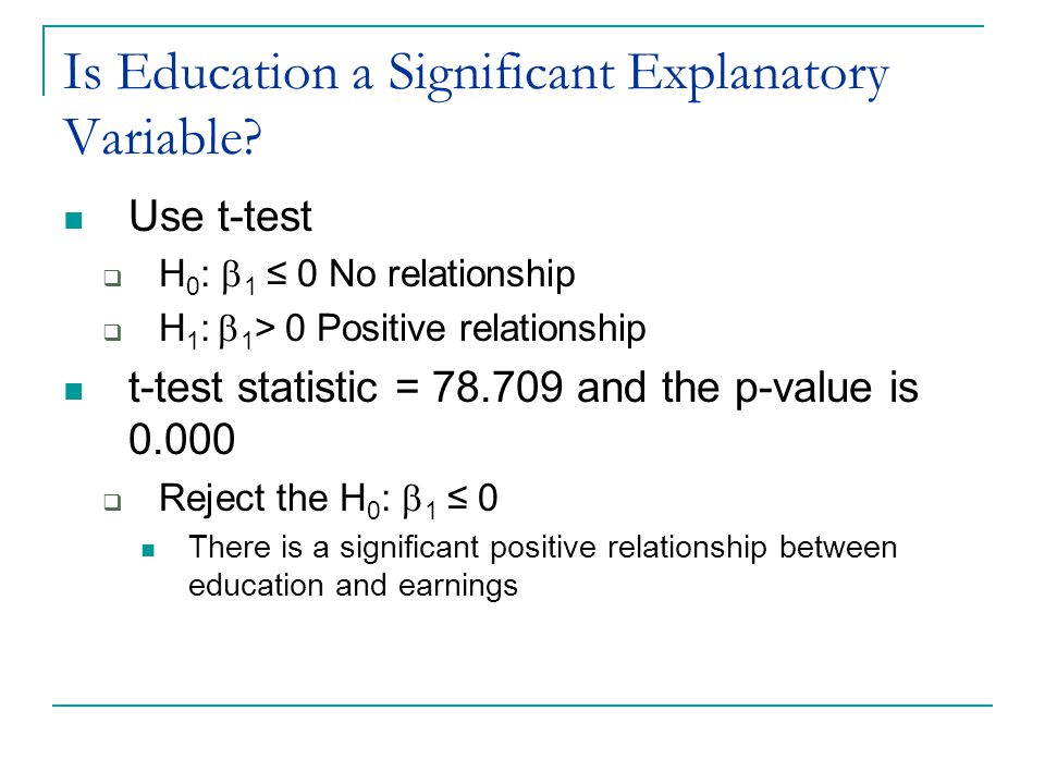 Is Education a Significant Explanatory Variable