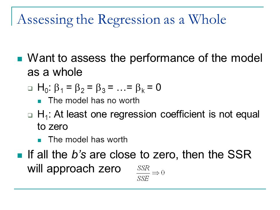 Assessing the Regression as a Whole