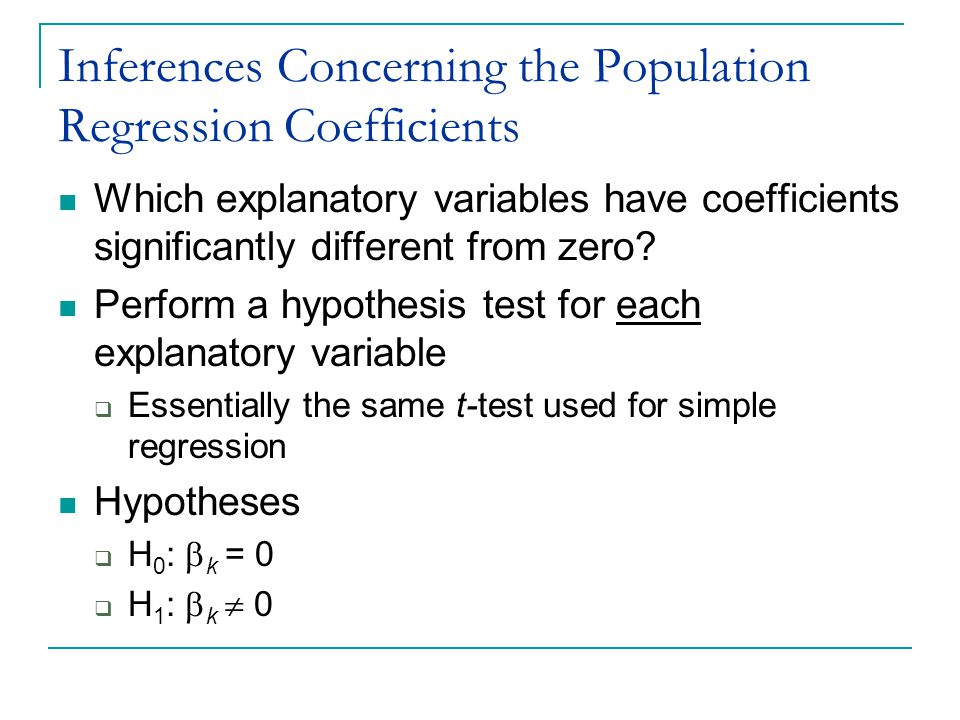 Inferences Concerning the Population Regression Coefficients