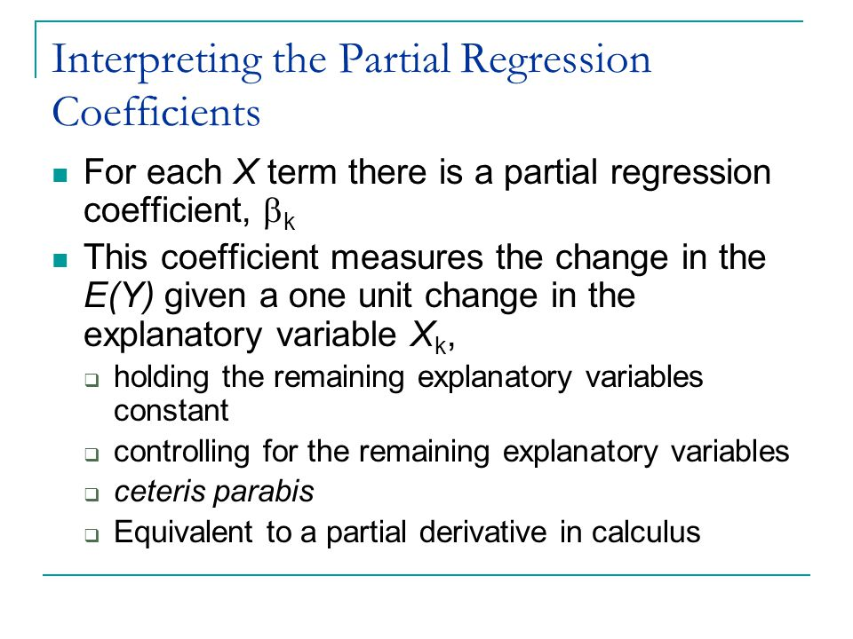 Interpreting the Partial Regression Coefficients