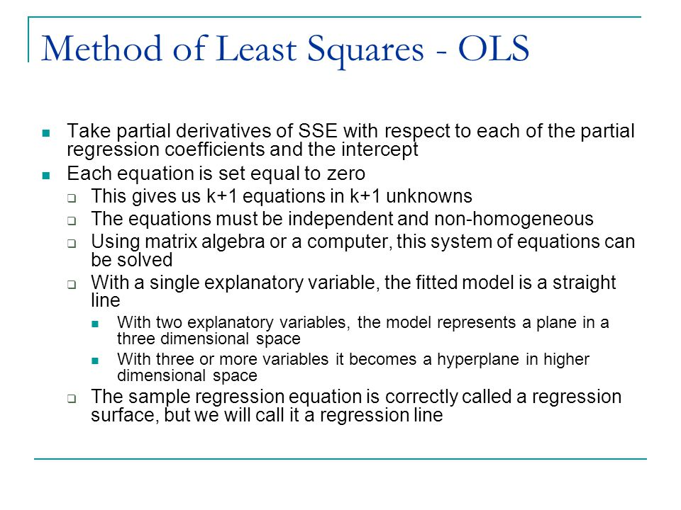 Method of Least Squares - OLS