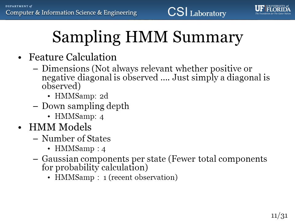 Sampling HMM Summary Feature Calculation HMM Models