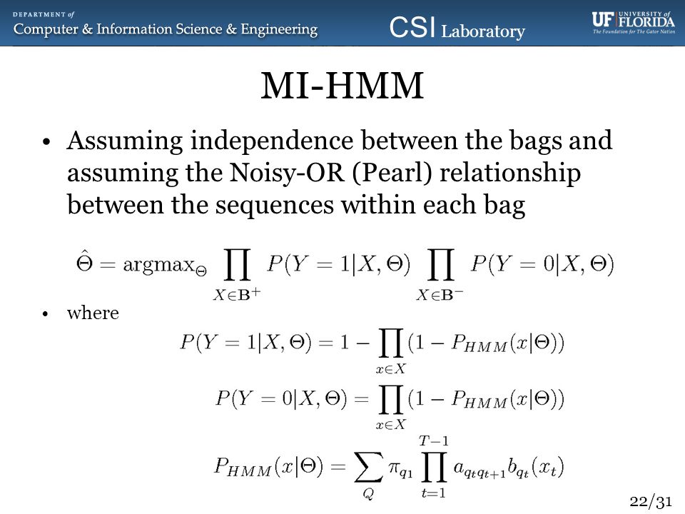 MI-HMM Assuming independence between the bags and assuming the Noisy-OR (Pearl) relationship between the sequences within each bag.