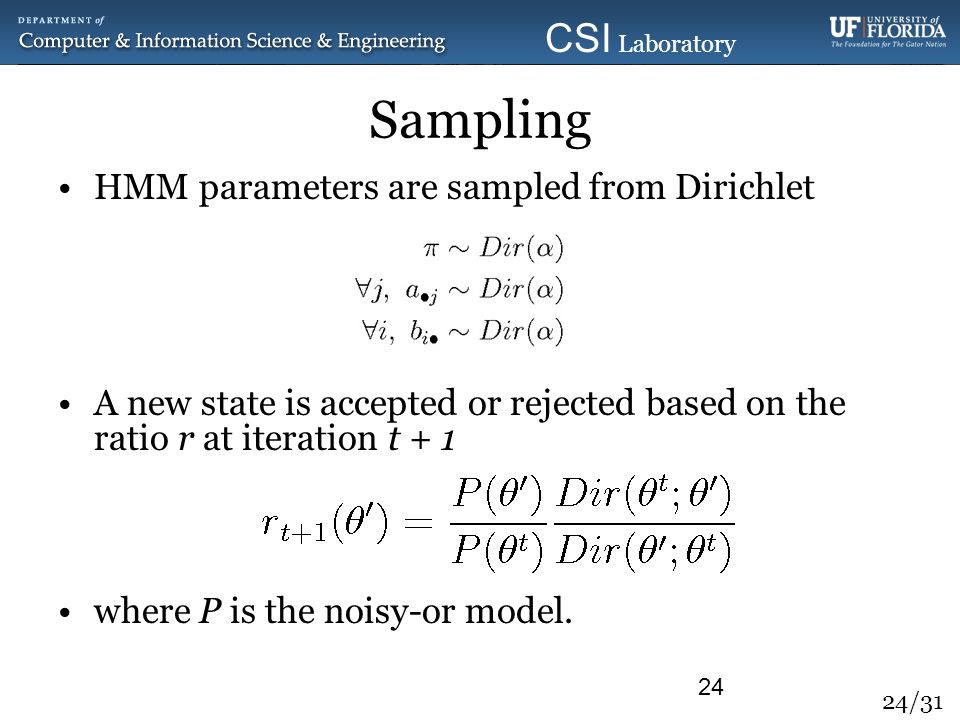 Sampling HMM parameters are sampled from Dirichlet