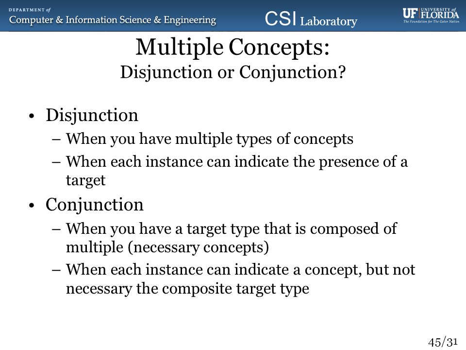 Multiple Concepts: Disjunction or Conjunction