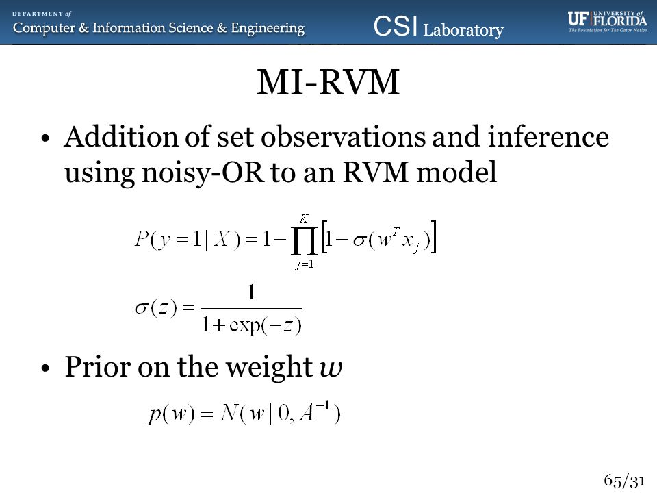 MI-RVM Addition of set observations and inference using noisy-OR to an RVM model.