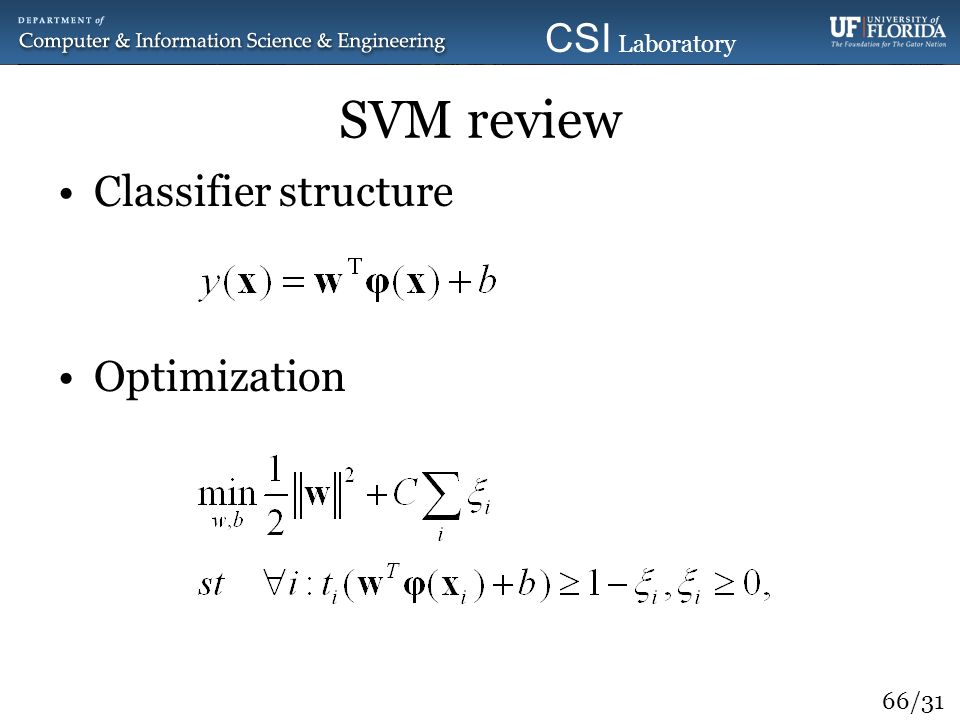 SVM review Classifier structure Optimization