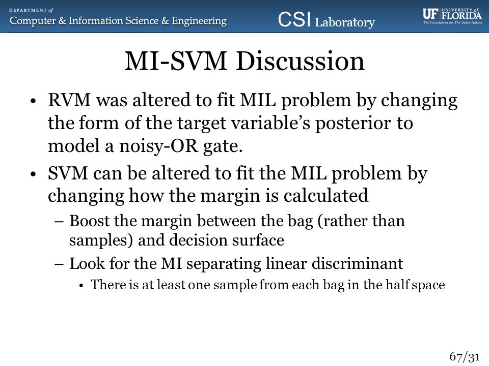 MI-SVM Discussion RVM was altered to fit MIL problem by changing the form of the target variable's posterior to model a noisy-OR gate.