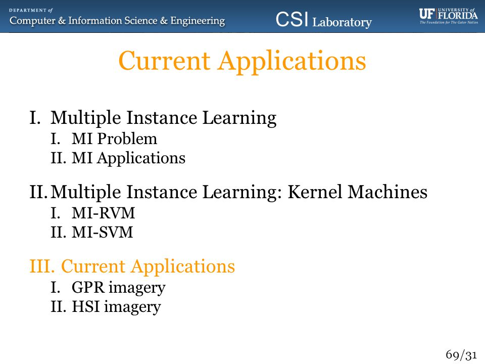 Current Applications Multiple Instance Learning