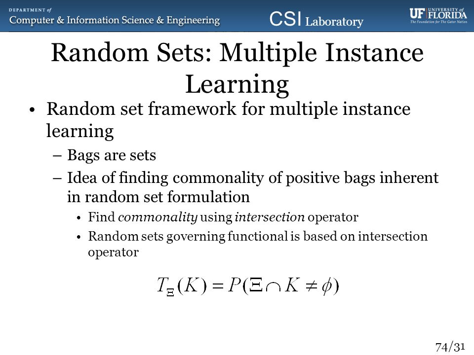 Random Sets: Multiple Instance Learning