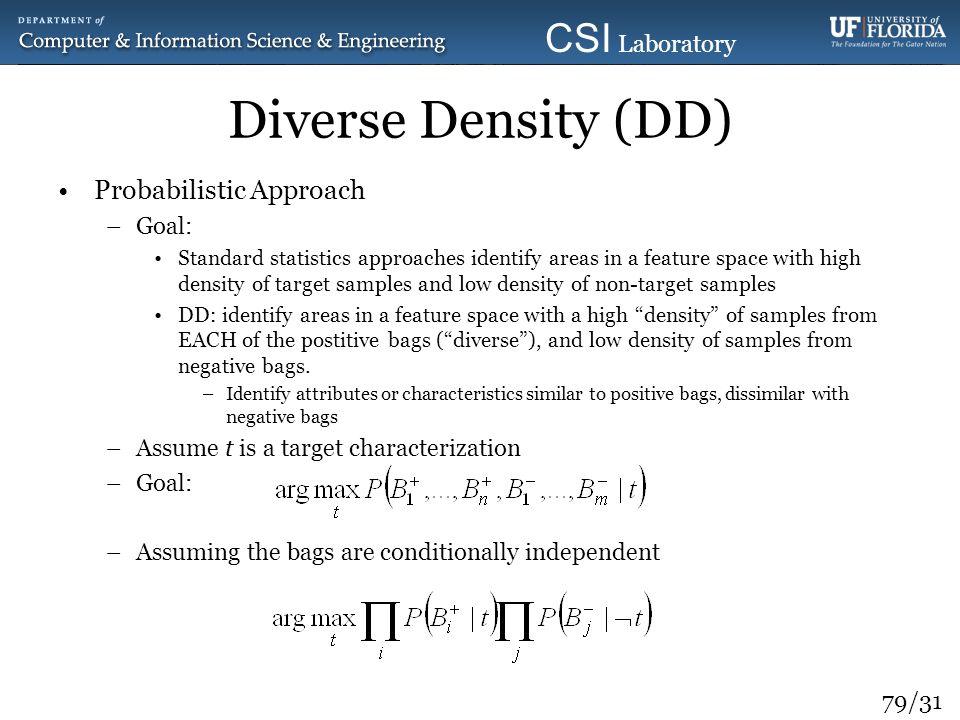 Diverse Density (DD) Probabilistic Approach Goal: