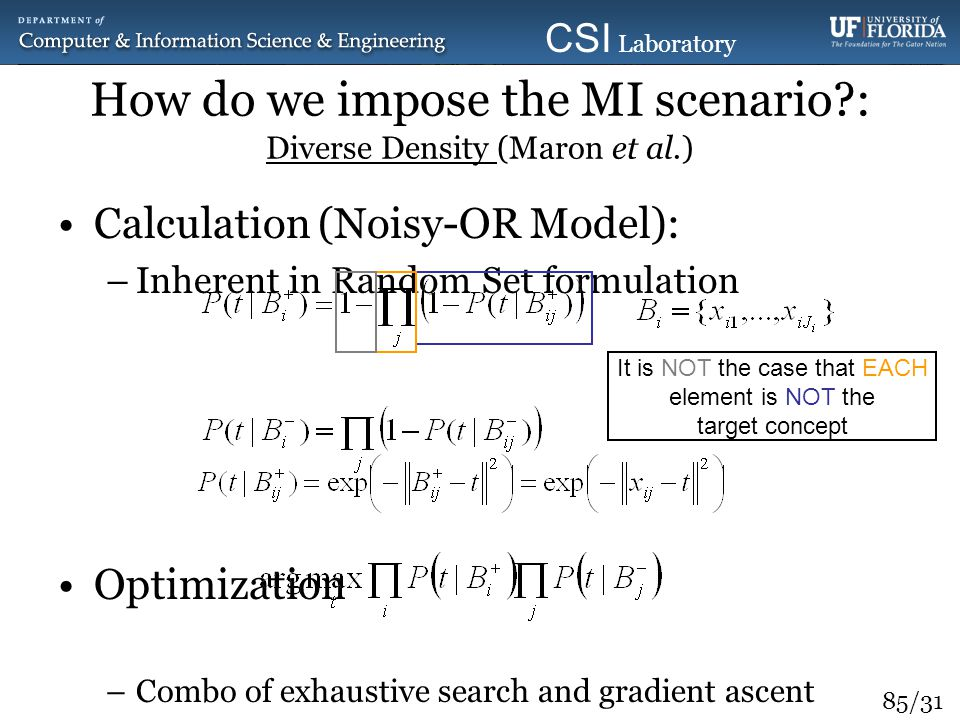 How do we impose the MI scenario : Diverse Density (Maron et al.)