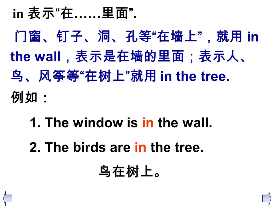 in 表示 在……里面 . 门窗、钉子、洞、孔等 在墙上 ,就用 in the wall,表示是在墙的里面;表示人、鸟、风筝等 在树上 就用 in the tree. 例如: 1. The window is in the wall.