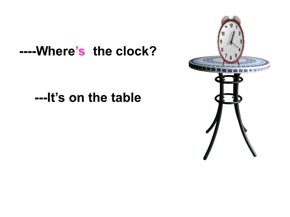 ----Where's the clock ---It's on the table