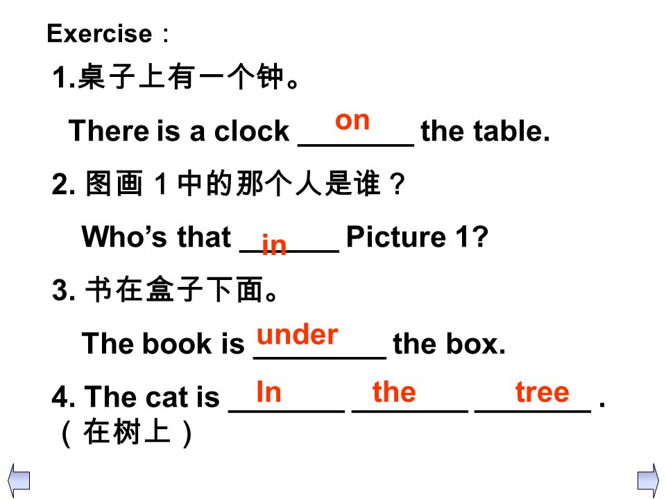 There is a clock _______ the table. 2. 图画1中的那个人是谁?