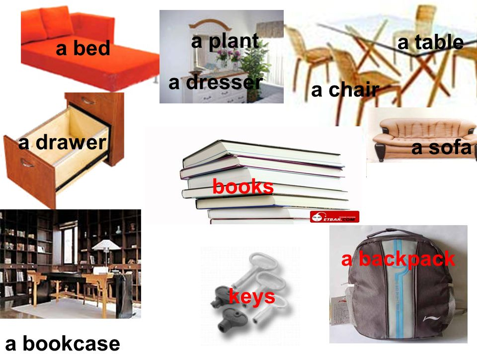a table a bed a plant a dresser a chair a drawer a sofa books a backpack keys a bookcase